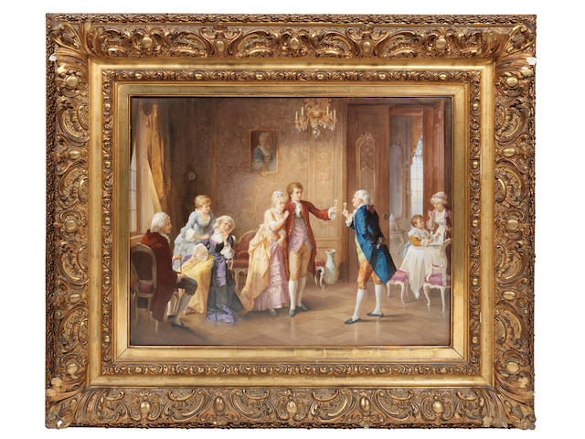 A magnificent and large framed Berlin plaque of 'The Betrothal', circa 1890