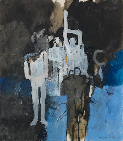 Keith Vaughan (British, 1912-1977) Crowd Addressed by a Leader 41.3 x 36.2 cm. (16 1/4 X 14 1/4 in.)