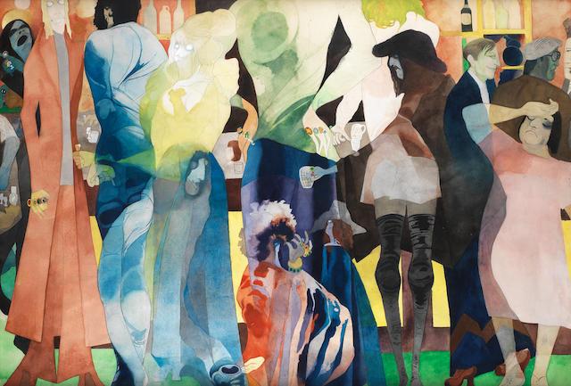 Edward Burra (British, 1905-1976) Hastings Pub 68.6 x 102.8 cm. (27 x 40 1/2 in.)
