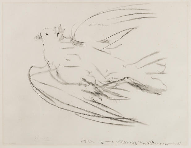 Pablo Picasso (Spanish, 1881-1973) The Flying Dove Lithograph, conceived in 1950, on Rives, bearing a pencil signature and inscribed 'Epreuve d'artiste' in the image lower left, a proof aside from the edition of 50, printed in 1955 by Editions Braun & Cie, Paris, 540 x 600mm (21 1/4 x 23 5/8in)(I)