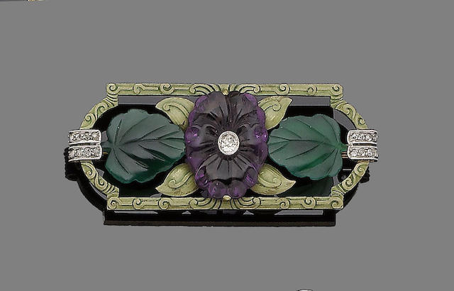 An early 20th century amethyst, chrysoprase and diamond brooch