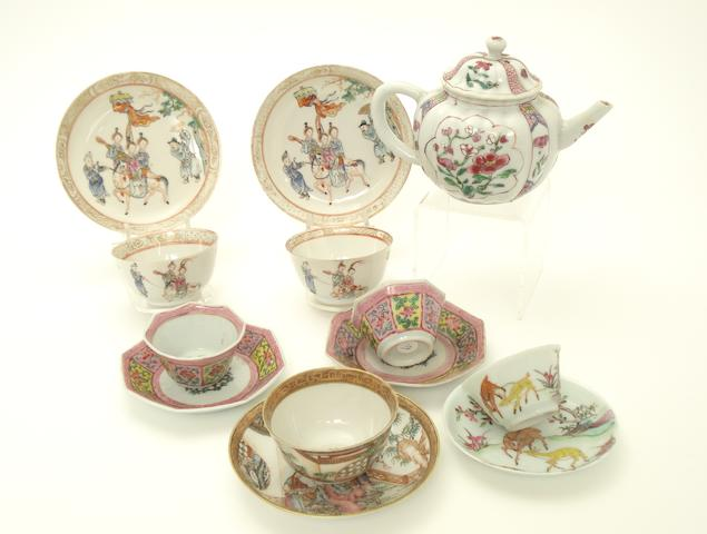A teapot together with two pairs of teabowls and saucers, and two further teabowls and saucers