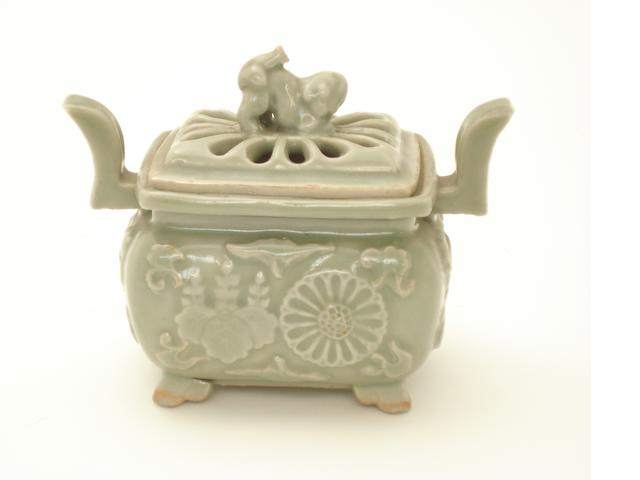 A Japanese celadon koro and cover