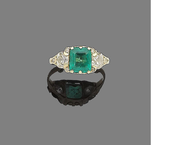 A 19th century emerald and diamond ring