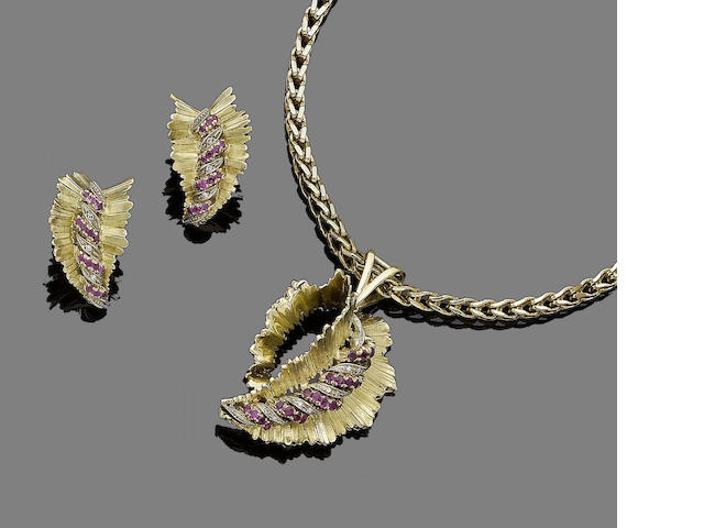 Leaf motif earrings and pendant set with rubies and diamonds