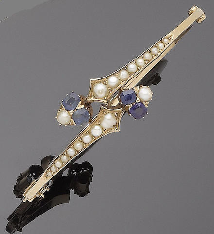 A cultured pearl and sapphire hinged bangle