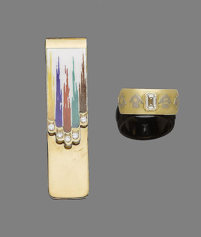 A diamond single-stone ring, 1986 and an enamel and diamond money clip, by M. Rosa, (2)
