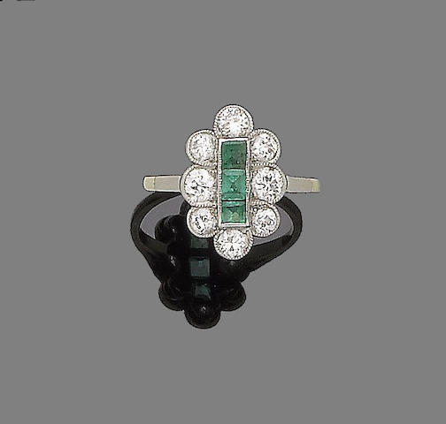 A belle époque emerald and diamond plaque ring,