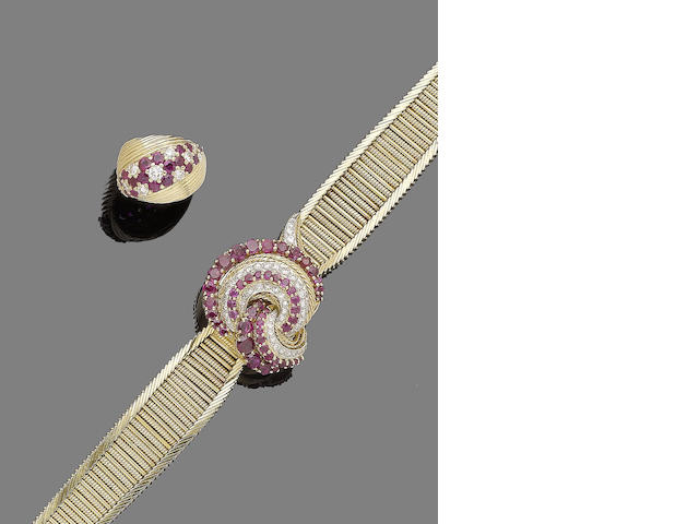 A ruby and diamond wristwatch, by Jaeger LeCoultre for Kutchinsky and a ruby and diamond ring, by Kutchinsky, (2)