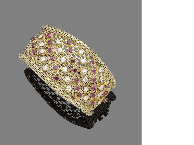 A gold, ruby and diamond bracelet,