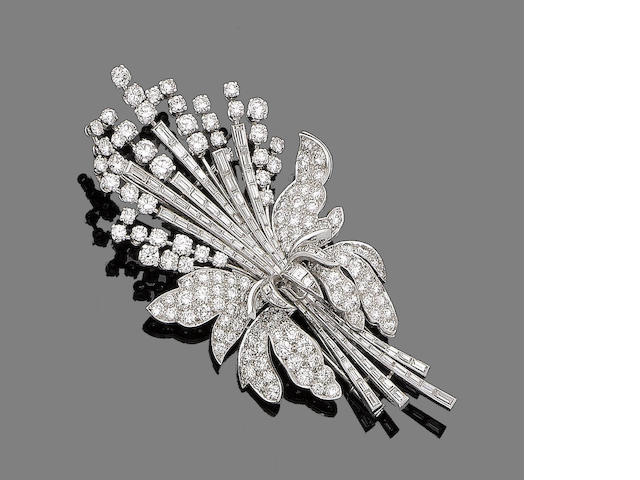 A diamond floral brooch