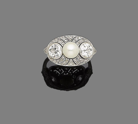 An art deco pearl and diamond dress ring,