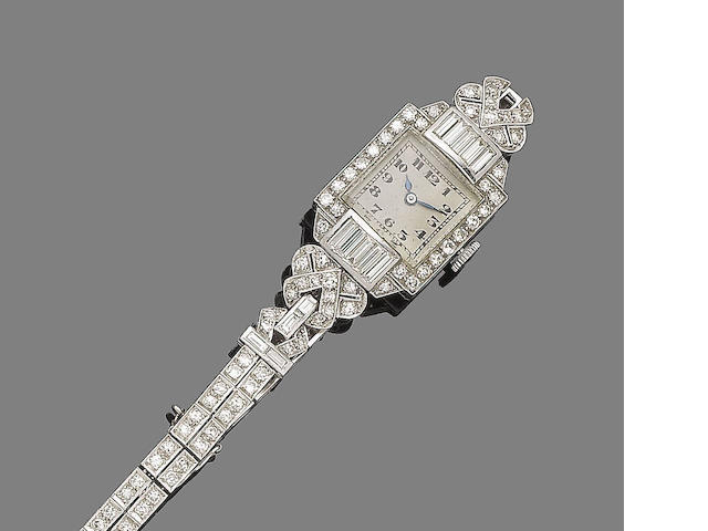 An art deco diamond cocktail wristwatch,