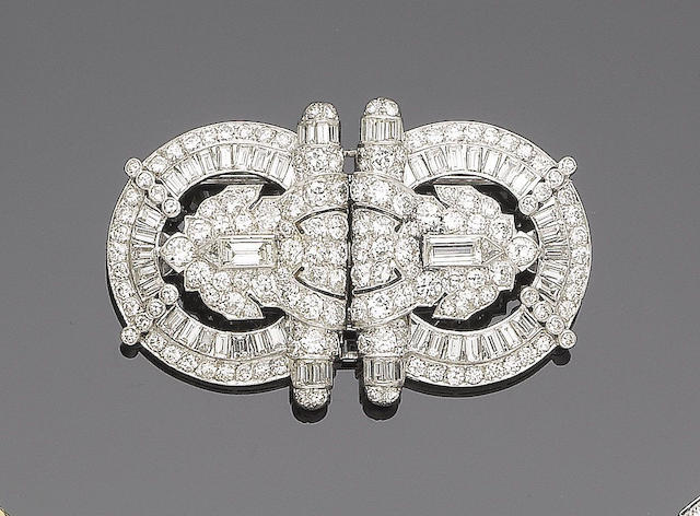 An art deco diamond double-clip brooch,
