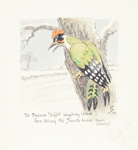 Charlie Johnson Payne, 'Snaffles' (British, 1884-1967) 'The Blessed Yaffle laughing loud...', Christmas card