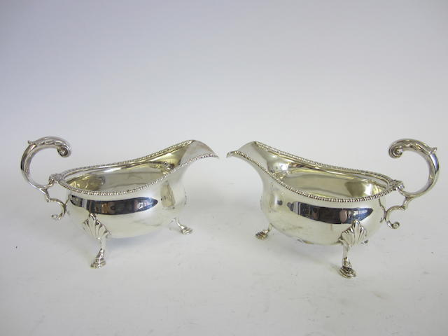 A silver pair of sauce boats Birmingham 1927  (2)