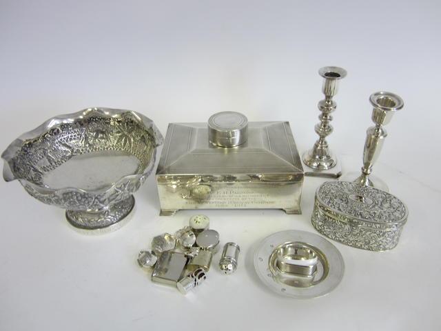A silver presentation cigar box Birmingham 1929  (Qty)