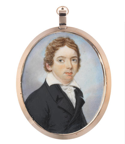 Circle of Charles Hayter (British, 1761-1835) A portrait of a young Gentleman, generally accepted as John Keats (1795-1821), wearing black double-breasted coat and waistcoat, white frilled chemise, stock and tie