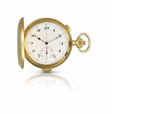 Le Phare. A fine and rare 18ct gold minute repeating stopwatch keyless wind full hunter pocket watchCase No.52906, Movement No.256058, Late 19th century