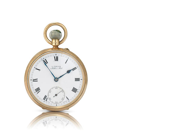 L. Faigan, Miller's Flat. A fine 9ct gold keyless wind open face pocket watchCase No.756, 1931