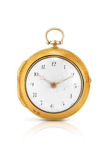 Andrew Dickie. A fine 18ct gold key wind pair case open face pocket watch Case and Movement No.3046, Mid 18th century