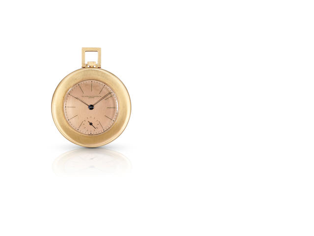 Vacheron & Constantin. A fine and rare 18ct rose gold and enamel keyless wind open face pocket watch with fob chainCase No.413735, Circa 1940