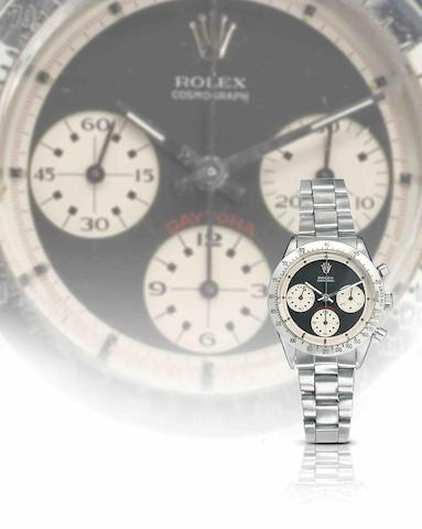 Rolex. A fine and rare stainless steel manual wind chronograph bracelet watch with Rolex Guarantee booklet stamped for the F.I.C West Store, Falkland Islands. Daytona 'Paul Newman', Ref:6239, Serial No.166***, Sold 3rd July 1971