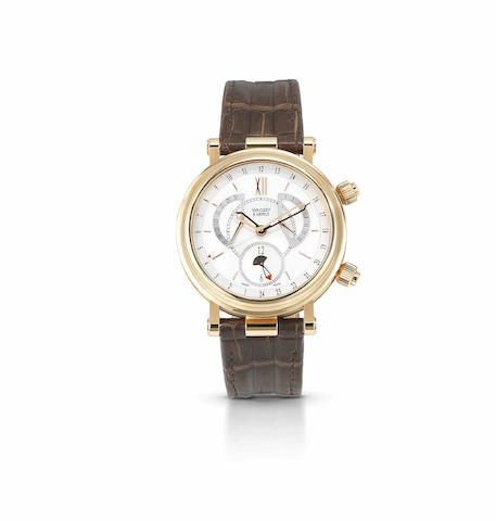 Van Cleef & Arpels. A fine 18ct rose gold automatic calendar alarm wristwatch Monsieur Arpels Reveil GMT, No.250094, Circa 2006