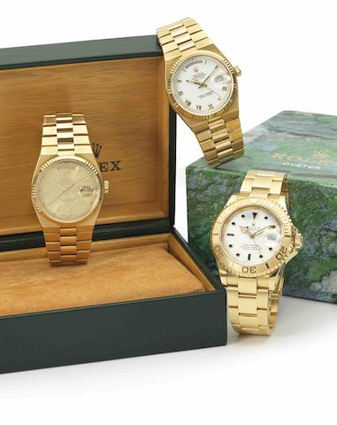 Rolex. A fine 18ct gold quartz calendar bracelet watchOysterquartz Day-Date, Ref:19018, Case No.6405***, Circa 1981