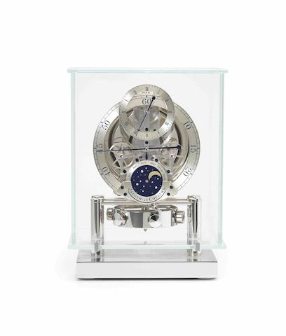 Jaeger-LeCoultre. A fine and rare limited edition stainless steel, glass and diamond set calendar clock with moon phasesAtmos Regulateur Phases De Lune, Ref:572 51 01, Limited edition 2/50, Recent