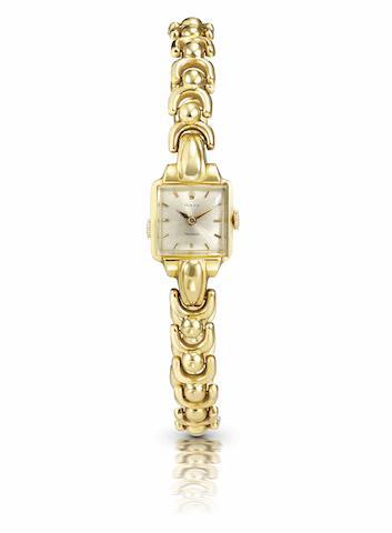 Rolex. A fine 18ct gold lady's manual wind bracelet watch1950s