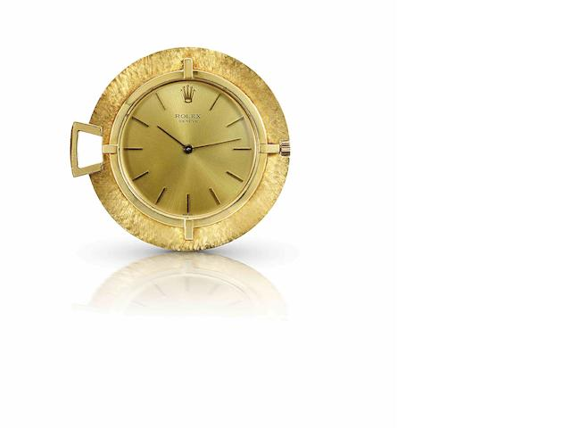 Rolex. A fine and rare 18ct gold keyless wind open face pocket watchCirca 1940