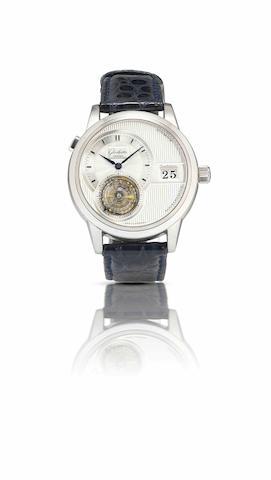 Glashütte Original . A very rare and important limited edition platinum calendar tourbillon automatic wristwatch Panomatic Flying Tourbillon, Ref:19301030304, limited edition 03/50, Circa 2000