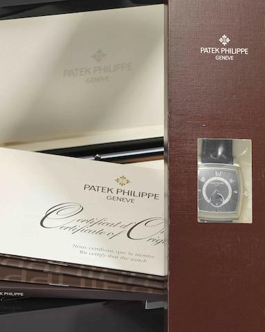 Patek Philippe. A rare and important platinum and diamond set annual calendar automatic wristwatch with moon phases and 24-hour display Gondolo Calendario, Ref:5135P, Sold in June 2008, STILL SEALED IN ITS ORIGINAL PATEK PHILIPPE PAPER PACKAGING AND PLASTIC