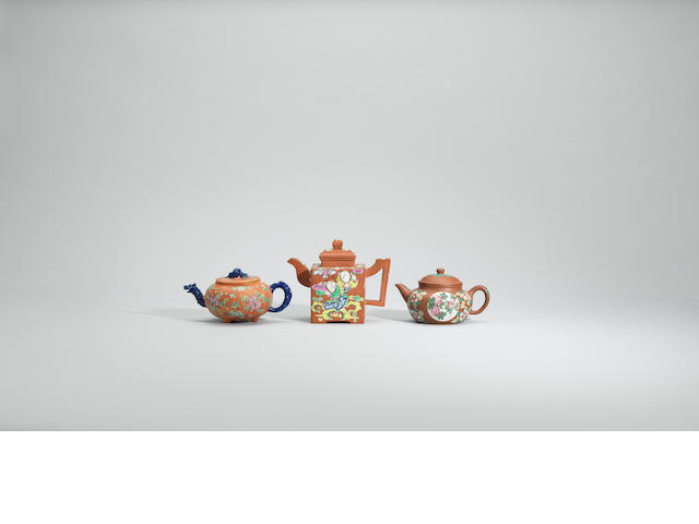 Three enamelled Yixing teapots and covers Late Qing dynasty
