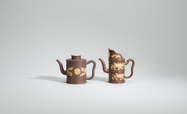 Two Yixing stoneware appliqué-decorated teapots Mid Qing dynasty