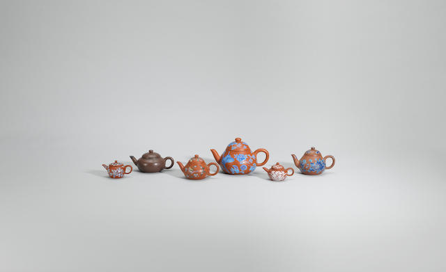 A group of small Yixing stoneware teapots and covers Late Qing/early Republican