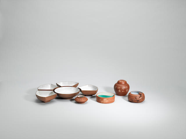 A group of Yixing stoneware scholar's objects Republican