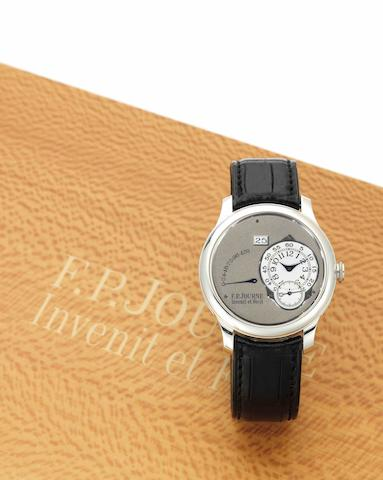 F.P. Journe. A fine and rare platinum calendar automatic wristwatch with power reserveOcta Automatique Réserve de Marche, Case No.640-A, Sold in September 2007