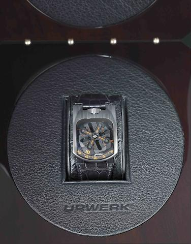 Urwerk. A very fine and rare limited edition PVC coated titanium manual wind wristwatchUR103T Mexican Fireleg, Ref:10.143, Limited edition of 60, Sold in June 2010