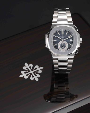 Patek Philippe. A fine and rare stainless steel calendar chronograph automatic bracelet watch Nautilus, Ref:5980/1A, Case No.4419898, Movement No.3668840, Sold December 2008