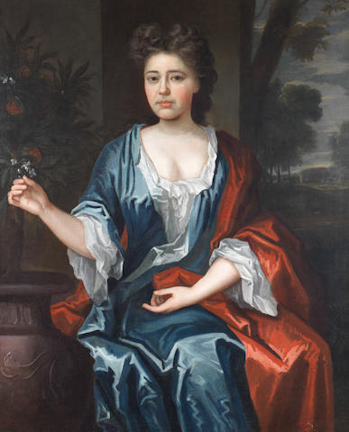 English School, early 18th Century Portrait of a lady, three-quarter-length, seated, in a blue dress and red cloak