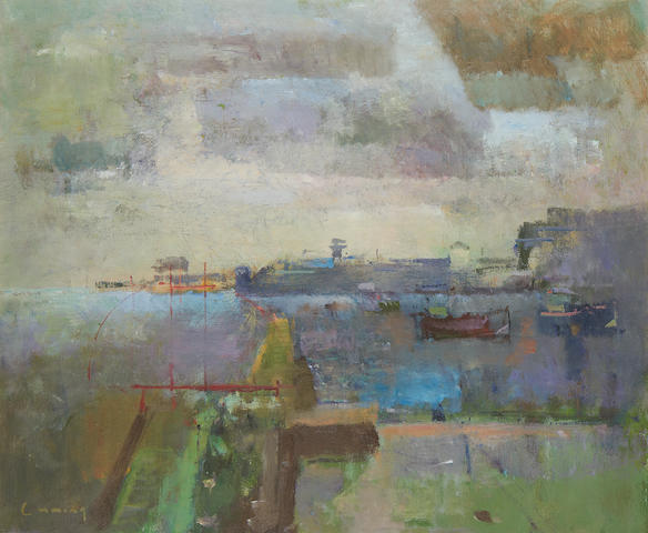 Fred Cuming (British, born 1930) View of Fowey harbour