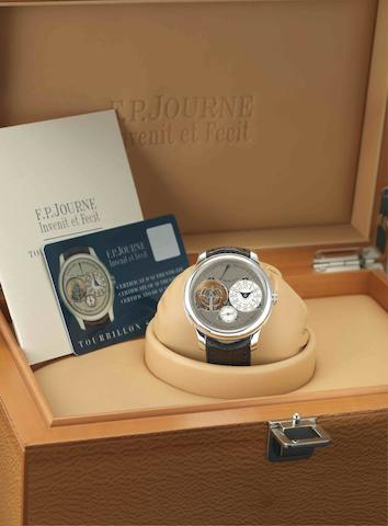 F.P. Journe. A very fine and rare platinum manual wind tourbillon chronometer wristwatch with power reserve indicationTourbillon Souverain à Remontoir d'Egalité avec Seconde Morte, No.008-04TN, Circa 2008