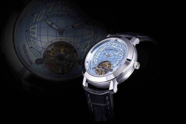 Audemars Piguet. A very rare and important 18ct white gold minute repeating tourbillon manual wind wristwatchJules Audemars – Repetition Minutes Tourbillon, Globe, Ref:25858BC, Case No.F10233, Movement No.600137, Recent