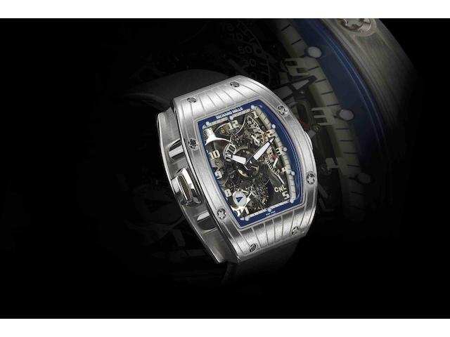 Richard Mille. A very fine and rare 18ct white gold dual time zone tourbillon manual wind wristwatch Perini Navi Cup RM015, Case No.AG WG/28, Recent