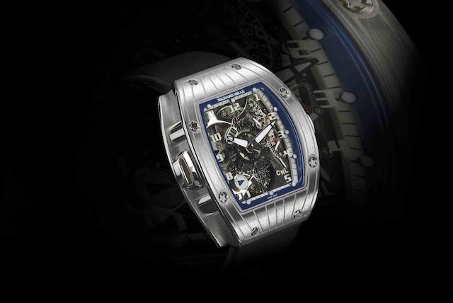 Richard Mille. A very fine and rare 18ct white gold dual time zone tourbillon manual wind wristwatchPerini Navi Cup RM015, Case No.AG WG/28, Recent