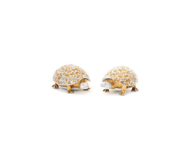 A very rare pair of Meissen turtle butter boxes and covers, circa 1727-28
