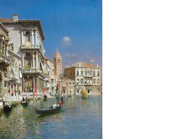 Rubens Santoro (Italian, 1859-1942) In the gondola, Venice