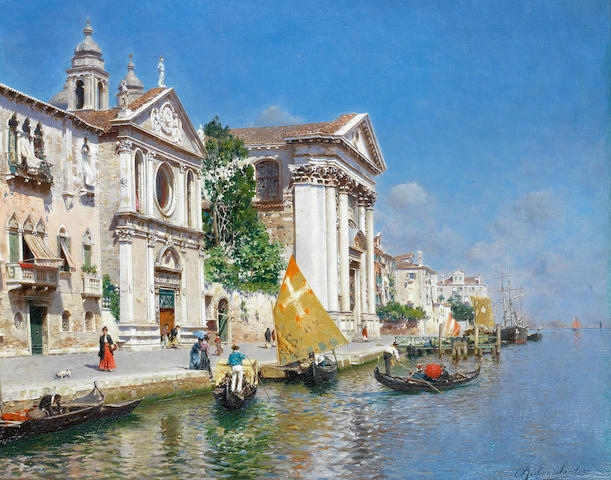 Rubens Santoro (Italian, 1859-1942) The Zattera and church of the Jesuate, Venice